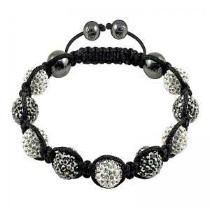 China High Quality DIY 10mm White Crystal Hematite Beads Crystal Bangle Bracelets wholesale