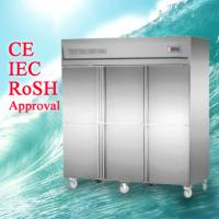 Quality Commercial Stainless Steel Upright Freezers 6 Doors with universal wheel For Restaurant for sale