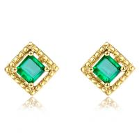 Square Genuine Emerald Stud Earrings 18k Yellow Goldfor Ladies Gifts