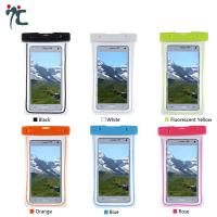 pvc mobile cell phone waterproof plastic polyester sports bag for phone