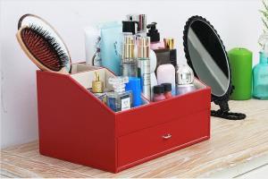 China Korean PU OEM 40*31*27 cm Desktop Cosmetic Storage Box wholesale
