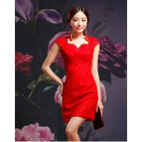 China Sexy V Neck Short Qipao Wedding Dress / vintage Lace cheongsam wedding dress wholesale