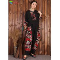 China Chinese Style Womens Linen Suits Clothing Black Blouse And Pants Casual Suit on sale