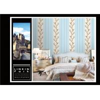China Light Blue Vintage Striped Wallpaper / Embossed Wall Coverings Home Decor wholesale