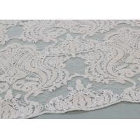 China Ivory Sequin Lace Fabrics , Embroidered Bridal Lace Fabrics For Wedding Dresses wholesale