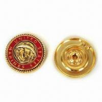 China Round Metal Badge, Made of Lead-free Zinc Alloy, Artificial Enamel Epoxy Finishing wholesale