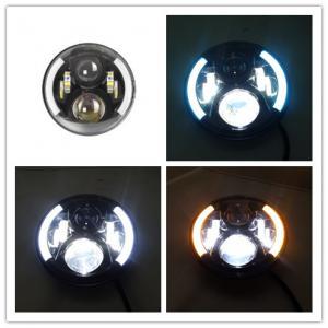 China 7 Inch 70W Round 3700 LM Jeep Wrangler Headlights With Half Halo Ring Angel Eye wholesale