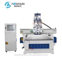 China 3 Heads 3 Axis Cnc Router Milling Machine Automatic Cnc Engraver For Wooden Cabinet Door wholesale