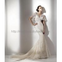China mermaid lace material with short sleeves wedding dress N-17 wholesale