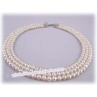 China Triple rows hand knitted bridal gradual pearl choker necklace on sale