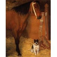 China Oil Painting At_the_Stables,_Horse_and_Dog wholesale