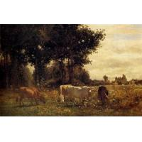 China Oil Painting Cows_Grazing wholesale