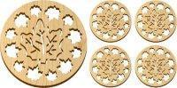 Wooden Maple Leaves Trivet and Coasters Gift Set [MLW-66625]