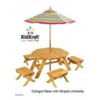 China Wooden Octagon Table with striped umbrella & 4 Stool Set [KK-00042] wholesale