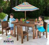 China Wooden Outdoor Espresso Table & Stacking Chairs w/ Striped Umbrella [KK-00046] wholesale