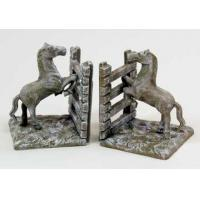 White Washed Cast Iron Horse Fence Bookends