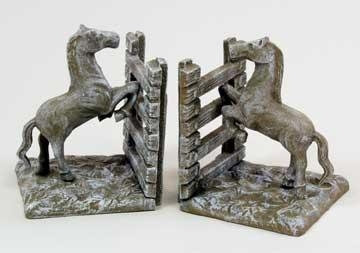 Quality White Washed Cast Iron Horse Fence Bookends for sale