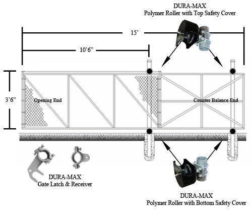 Quality Dura-Max Cantilever Slide Gate Kit 4' x 10' (1.22 m x 3.05 m) for sale