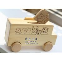 China Vehicle Toys Medium Size White Animal Figures Wooden Bus Toy wholesale