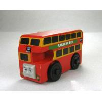 China Vehicle Toys Red Wooden Bulgy Railway Double Decker Bus wholesale