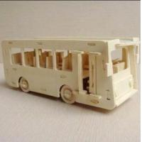 China Vehicle Toys DIY 1:48 Scale Assembly Wooden Bus wholesale