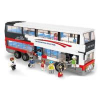 China Vehicle Toys 741 Pieces White ABS Plastics Educational Building Block Bus Toy wholesale