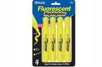 China BazicYellow Desk Style Fluorescent Highlighters (4/Pack) wholesale