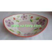 China ceramic snack plate with hand painted in boat shape wholesale