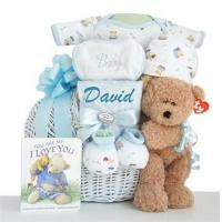 China Personalized Oh Boy! Little Miracle Baby Boy Gift Basket wholesale