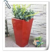 China Hot sale fiberglass glazed indoor tall red planter flower pot wholesale
