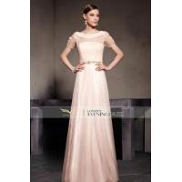 China Lace Beige Empire Embroidery Short Sleeve Prom Dress 30522 on sale