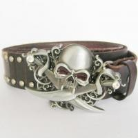 Buy cheap Emo Gothic Skull Brown Studded Genuine Leather Belt from wholesalers
