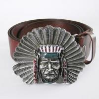 Buy cheap Native American Western Indian Chief Light Coffee Color Real Leather Belt from wholesalers