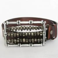 Buy cheap Belt For Men 3D Skulls Light Coffee Real Leather Belt from wholesalers