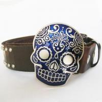 Buy cheap Tattoo Skull Dark Coffee Nails Studded Real Leather Belt from wholesalers
