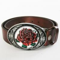 Buy cheap Leather Belt For Men Oval Western Flower Real Leather Belt from wholesalers