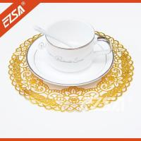 China EZS Embossed PVC Foaming Stock Lace Round Elegant Dining Room Table Place Mats wholesale