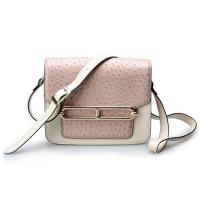 China Good quality low price ostrich cow leather small cell phone single shoulder bag for girls wholesale