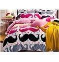 Buy cheap Super Soft Funny Mustache Print 4-Piece Coral Fleece Duvet Cover Sets from wholesalers