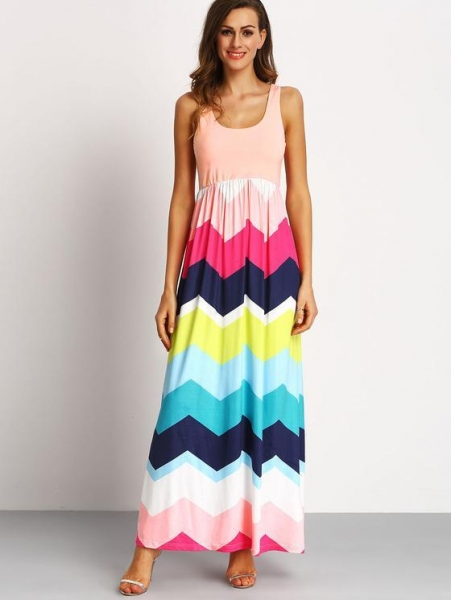 Quality Multicolor Sleeveless Zig-Zag Print Maxi Dress for sale