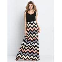 China Colorful Sleeveless Zig-zag Print Maxi Dress wholesale