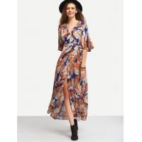 China Multicolor Print Tie-waist Wrap Maxi Dress wholesale