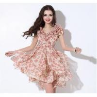 China Apparel Women's Pleated Flouncing V-neck Summer Short-sleeved Chiffon Dresses on sale