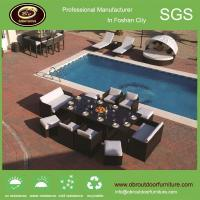 China Hotel wicker furniture in china outdoor rattan dinning glass table set wholesale