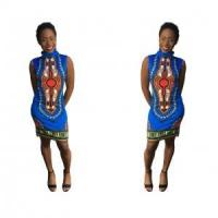 Buy cheap Dashiki Blue Bodycon Dress 21461-2 from wholesalers