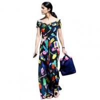 China Printed Off the Shoulder Short Sleeve Maxi Dress 21410 wholesale