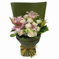 Buy cheap Stargazer Lilies Arranged with Roses and Greens NO.27 delivery from wholesalers