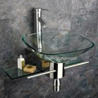 China Bathroom Glass Vessel Sink & Vanity + Faucet kk05 wholesale