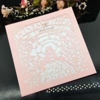 China Excellent Design Laser Cut Wedding Invitation Card with bride and groom wholesale