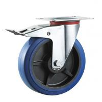 China 75mm-200mm Industrial elastic rubber swivel locking caster wheel,roller bearing/double ball bearing on sale